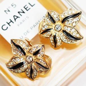 Christian Dior Clip on Austrian Crystal Earrings
